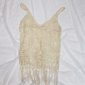Lovely 153 crochet  Biege Fringe Top